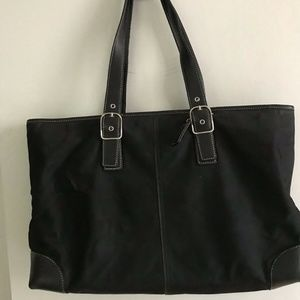COACH Large Black Satin Fabric Tote